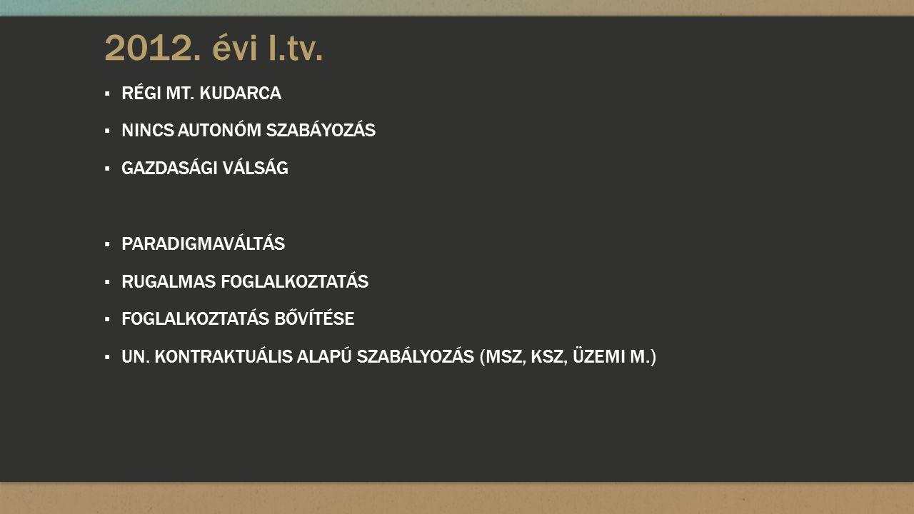2012. évi I.tv. ▪ RÉGI MT.