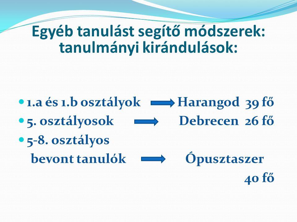 Egyéb tanulást segítő módszerek: tanulmányi kirándulások: 1.a és 1.b osztályok Harangod 39 fő 5.