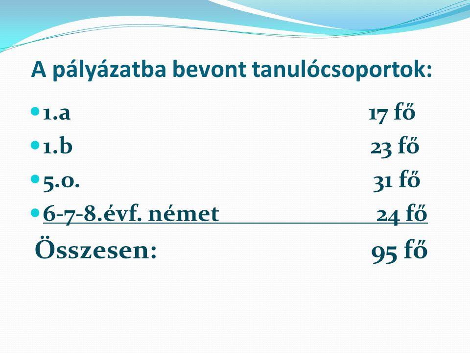 A pályázatba bevont tanulócsoportok: 1.a 17 fő 1.b 23 fő 5.o.