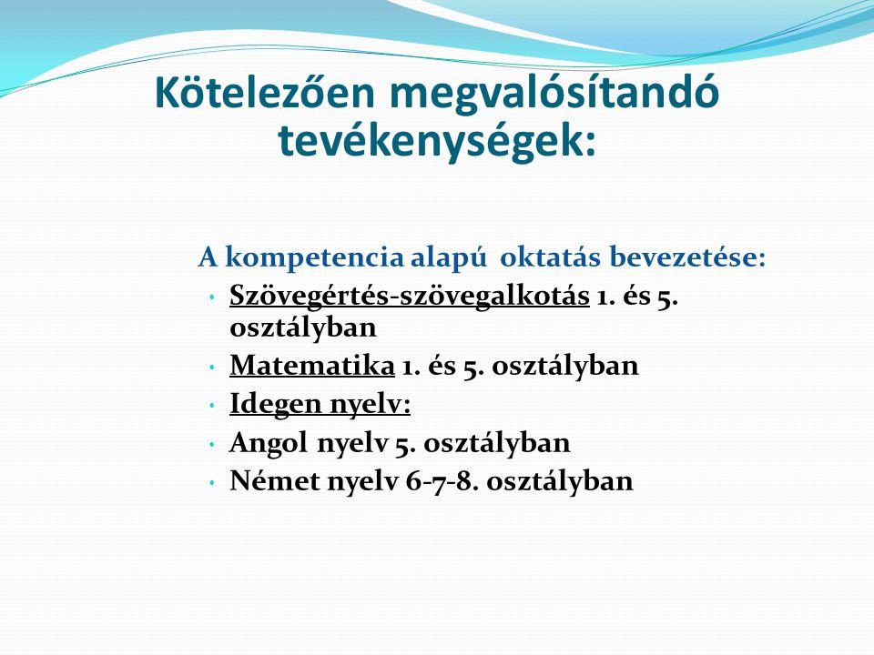 Kötelezően megvalósítandó tevékenységek: A kompetencia alapú oktatás bevezetése: Szövegértés-szövegalkotás 1.