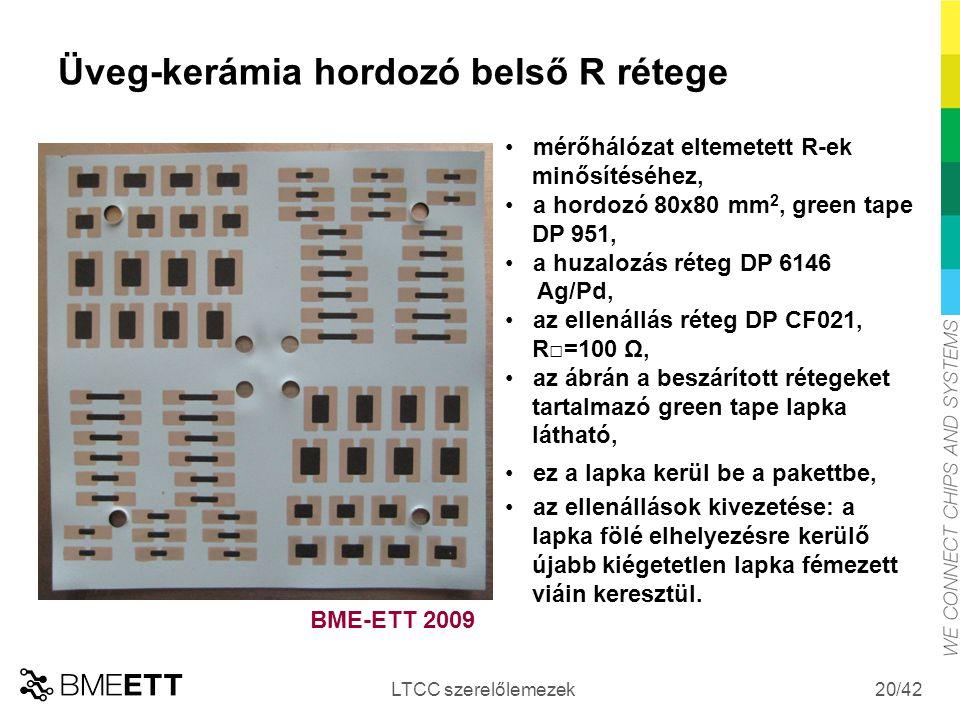 /42 Üveg-kerámia hordozó belső R rétege LTCC szerelőlemezek 20 mérőhálózat eltemetett R-ek minősítéséhez, a hordozó 80x80 mm 2, green tape DP 951, a h