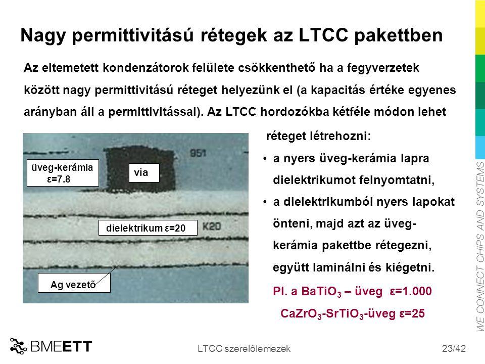 /42 Nagy permittivitású rétegek az LTCC pakettben LTCC szerelőlemezek 23 Az eltemetett kondenzátorok felülete csökkenthető ha a fegyverzetek között na
