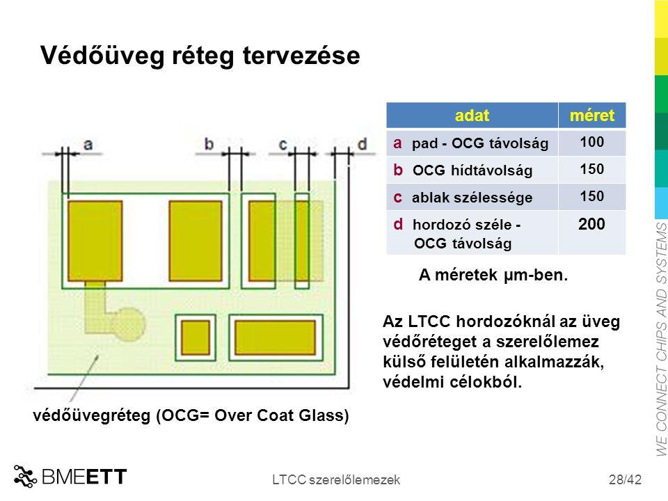 /42 Védőüveg réteg tervezése LTCC szerelőlemezek 28 adatméret a pad - OCG távolság 100 b OCG hídtávolság 150 c ablak szélessége 150 d hordozó széle -