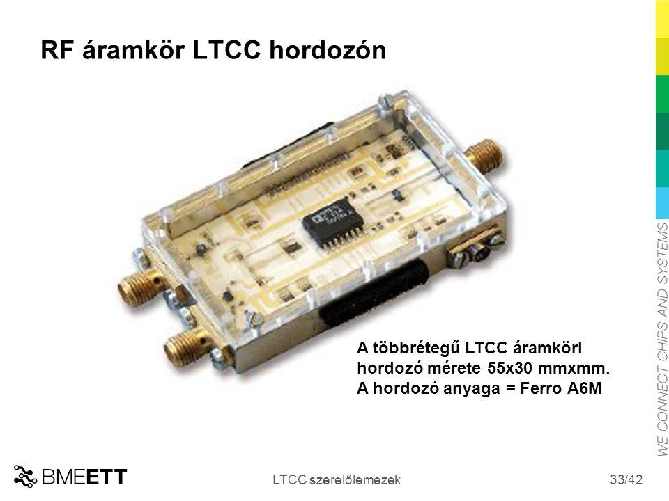 /42 RF áramkör LTCC hordozón LTCC szerelőlemezek 33 A többrétegű LTCC áramköri hordozó mérete 55x30 mmxmm. A hordozó anyaga = Ferro A6M