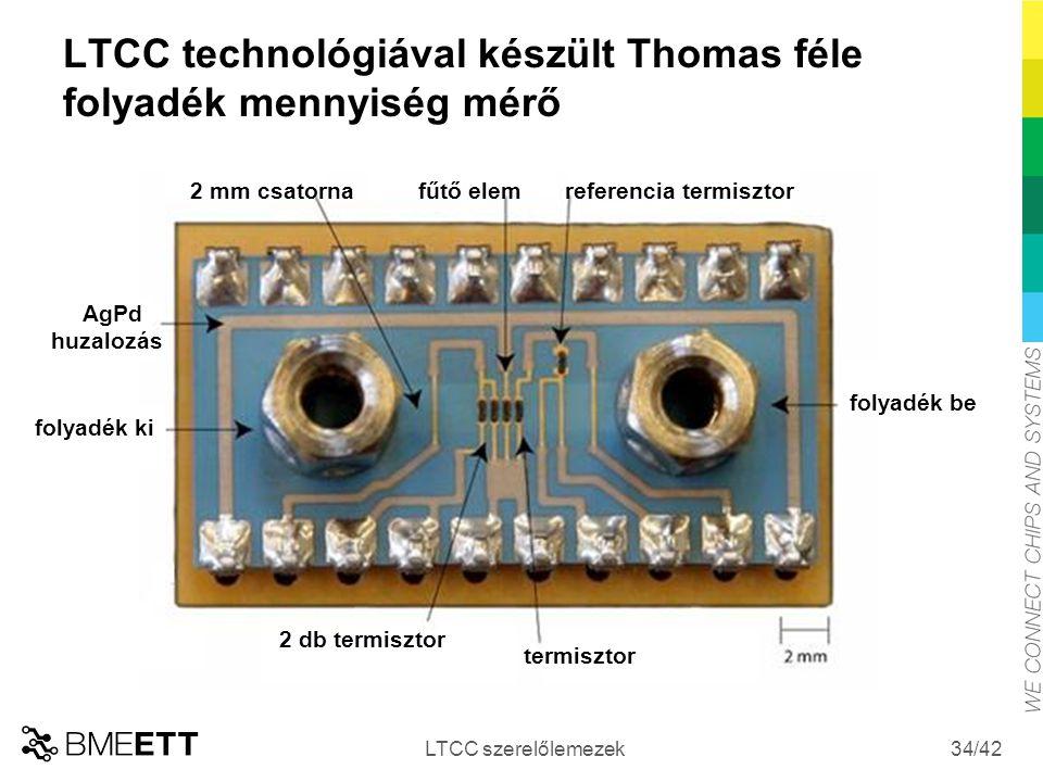 /42 LTCC technológiával készült Thomas féle folyadék mennyiség mérő LTCC szerelőlemezek 34 folyadék be folyadék ki AgPd huzalozás 2 mm csatornafűtő el