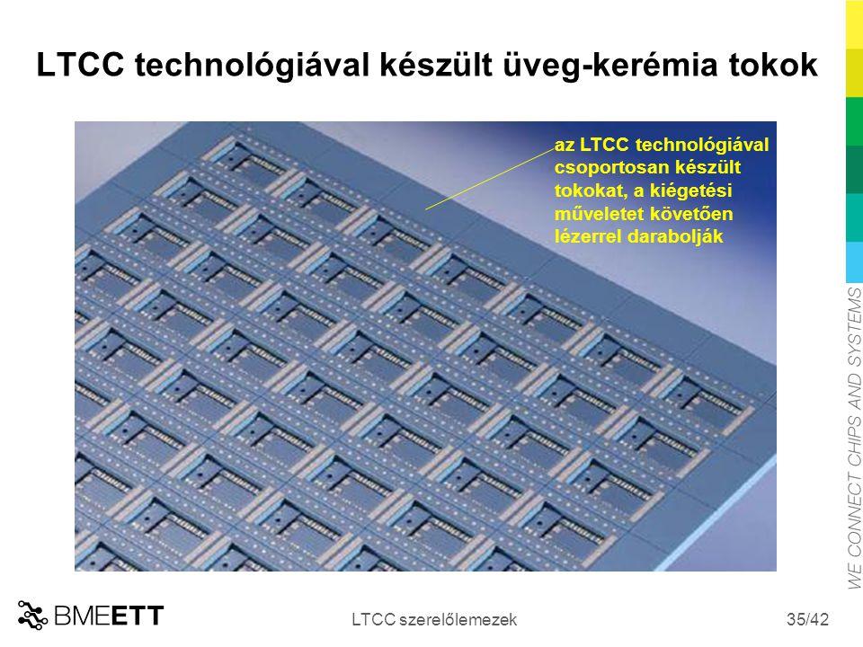 /42 LTCC technológiával készült üveg-kerémia tokok LTCC szerelőlemezek 35 az LTCC technológiával csoportosan készült tokokat, a kiégetési műveletet kö