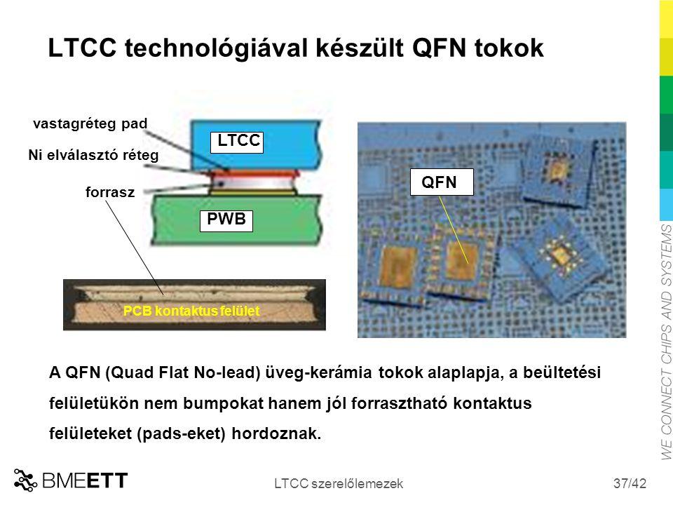 /42 LTCC technológiával készült QFN tokok LTCC szerelőlemezek 37 vastagréteg pad Ni elválasztó réteg forrasz PCB kontaktus felület QFN A QFN (Quad Fla