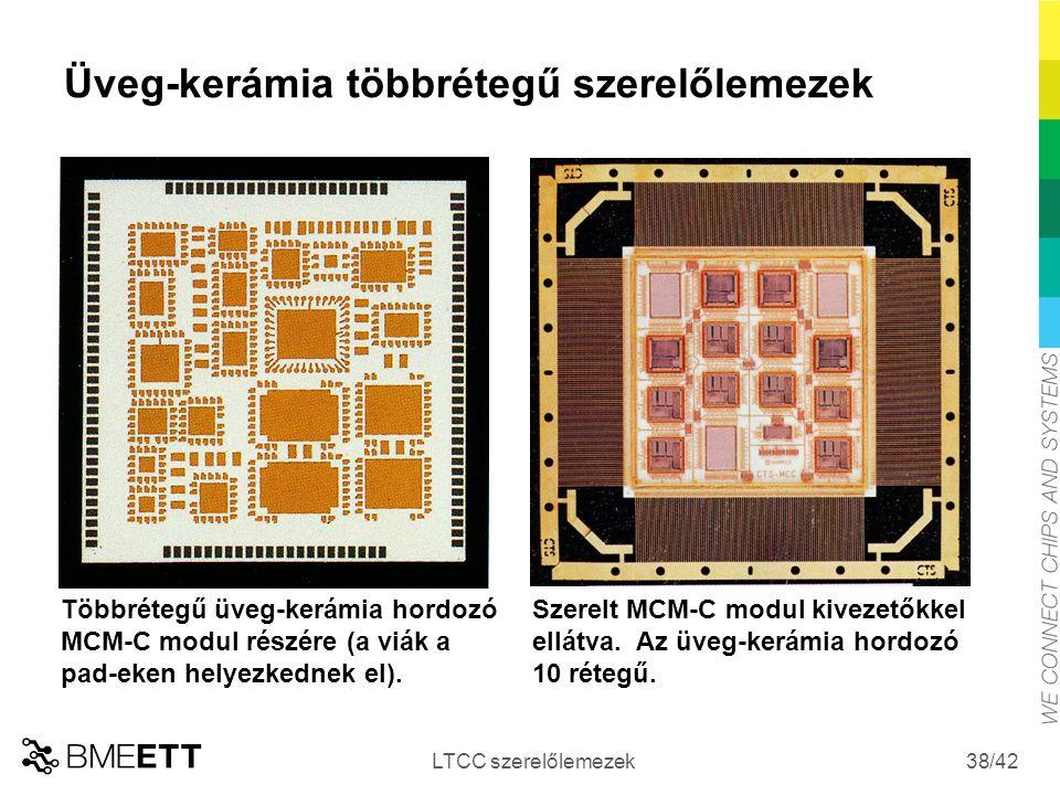 /42 Üveg-kerámia többrétegű szerelőlemezek LTCC szerelőlemezek 38 Többrétegű üveg-kerámia hordozó MCM-C modul részére (a viák a pad-eken helyezkednek