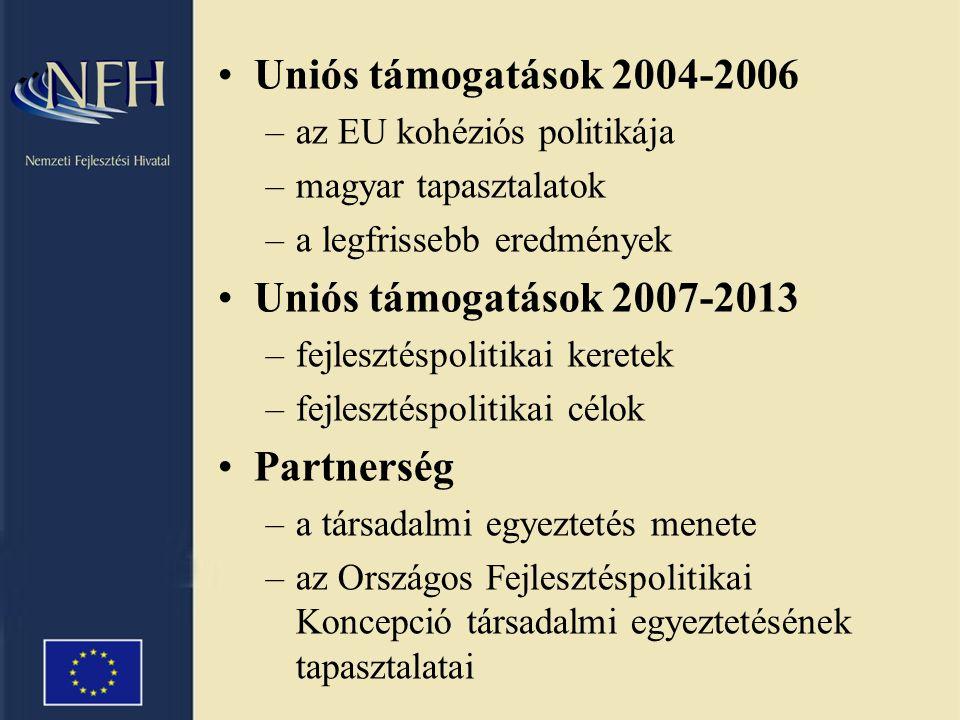 Uniós támogatások 2004-2006 –az EU kohéziós politikája –magyar tapasztalatok –a legfrissebb eredmények Uniós támogatások 2007-2013 –fejlesztéspolitikai keretek –fejlesztéspolitikai célok Partnerség –a társadalmi egyeztetés menete –az Országos Fejlesztéspolitikai Koncepció társadalmi egyeztetésének tapasztalatai