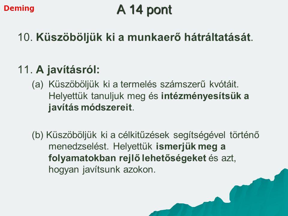 A 14 pont 10. Küszöböljük ki a munkaerő hátráltatását. 11. A javításról: (a) (a)Küszöböljük ki a termelés számszerű kvótáit. Helyettük tanuljuk meg és