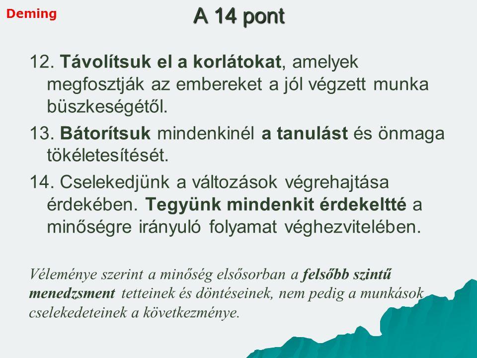 12. Távolítsuk el a korlátokat, amelyek megfosztják az embereket a jól végzett munka büszkeségétől. 13. Bátorítsuk mindenkinél a tanulást és önmaga tö