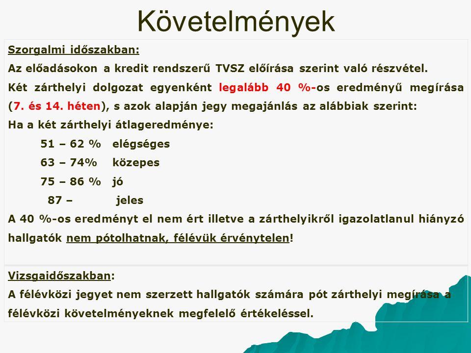 Követelmények Szorgalmi időszakban: Az előadásokon a kredit rendszerű TVSZ előírása szerint való részvétel. Két zárthelyi dolgozat egyenként legalább
