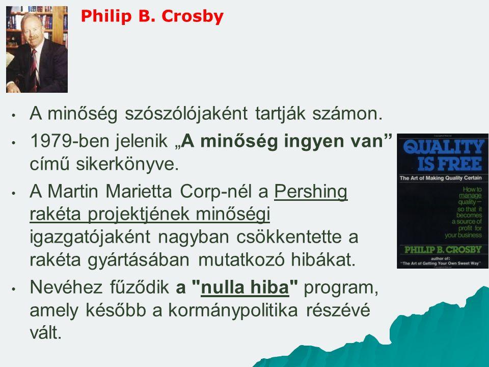 """Philip B. Crosby A minőség szószólójaként tartják számon. 1979-ben jelenik """"A minőség ingyen van"""" című sikerkönyve. A Martin Marietta Corp-nél a Persh"""