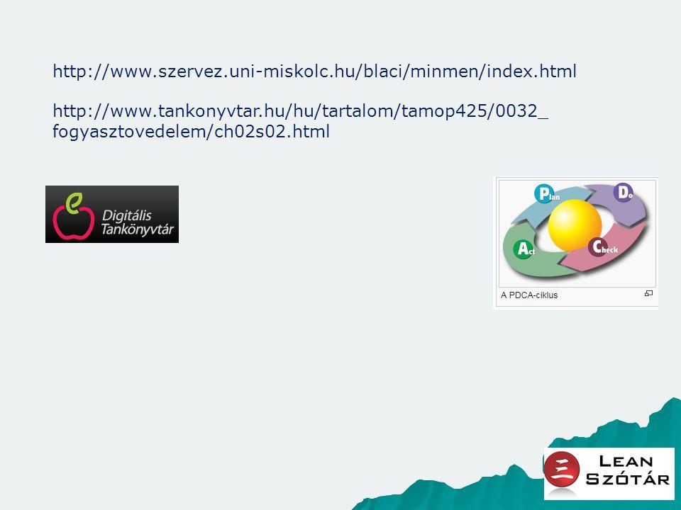 http://www.szervez.uni-miskolc.hu/blaci/minmen/index.html http://www.tankonyvtar.hu/hu/tartalom/tamop425/0032_ fogyasztovedelem/ch02s02.html
