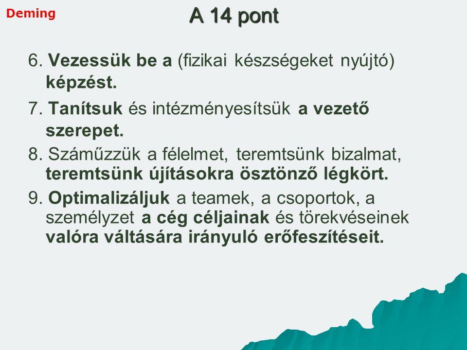 A 14 pont 6. Vezessük be a (fizikai készségeket nyújtó) képzést. 7. Tanítsuk és intézményesítsük a vezető szerepet. 8. Száműzzük a félelmet, teremtsün