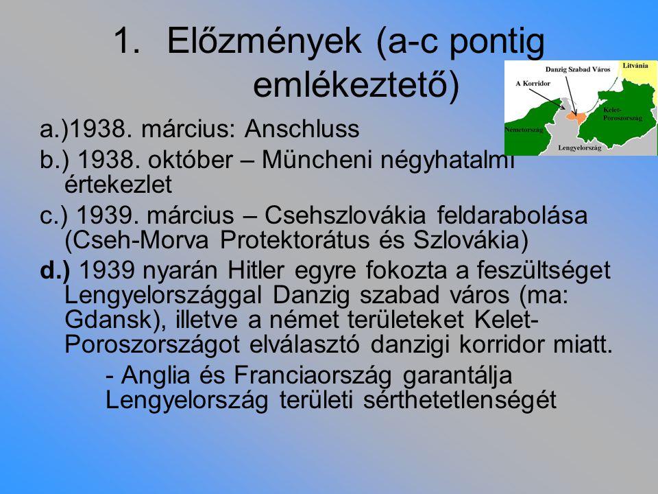 1.Előzmények (a-c pontig emlékeztető) a.)1938. március: Anschluss b.) 1938. október – Müncheni négyhatalmi értekezlet c.) 1939. március – Csehszlováki