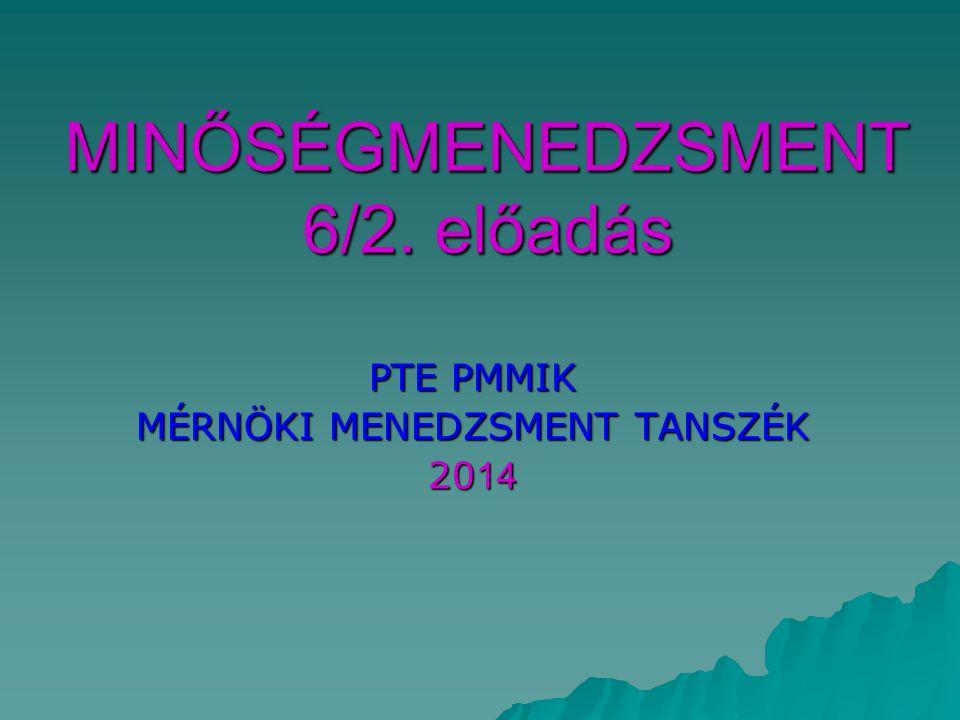 MINŐSÉGMENEDZSMENT 6/2. előadás PTE PMMIK MÉRNÖKI MENEDZSMENT TANSZÉK 20 14