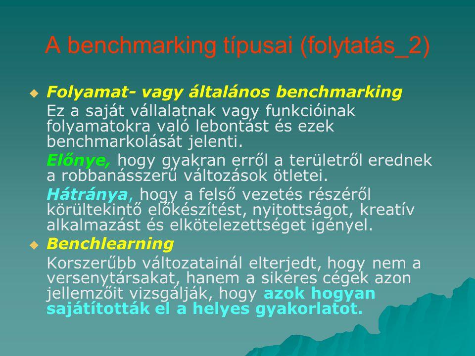 A benchmarking típusai (folytatás_2)   Folyamat- vagy általános benchmarking Ez a saját vállalatnak vagy funkcióinak folyamatokra való lebontást és ezek benchmarkolását jelenti.
