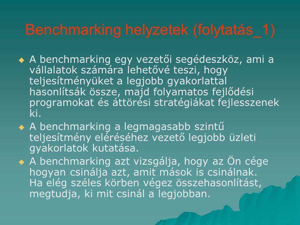 A benchmarking típusai   Belső benchmarking Ez alapjában véve a házon belüli tevékenységek benchmarkként való felhasználását jelenti.