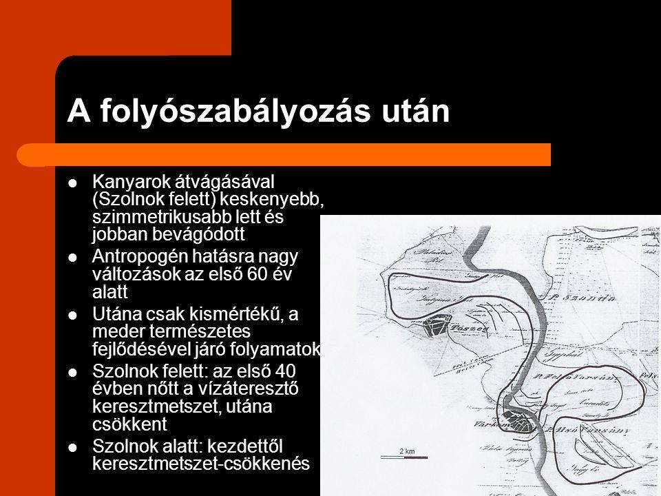 A folyószabályozás után Kanyarok átvágásával (Szolnok felett) keskenyebb, szimmetrikusabb lett és jobban bevágódott Antropogén hatásra nagy változások