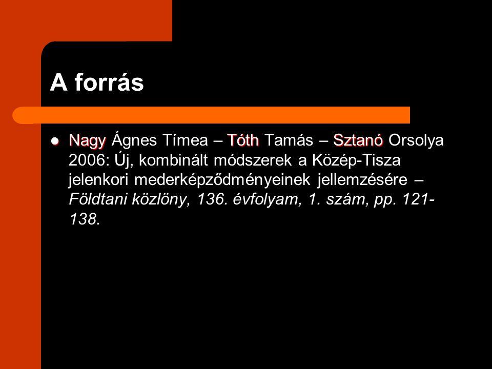 A forrás NagyTóthSztanó Nagy Ágnes Tímea – Tóth Tamás – Sztanó Orsolya 2006: Új, kombinált módszerek a Közép-Tisza jelenkori mederképződményeinek jell