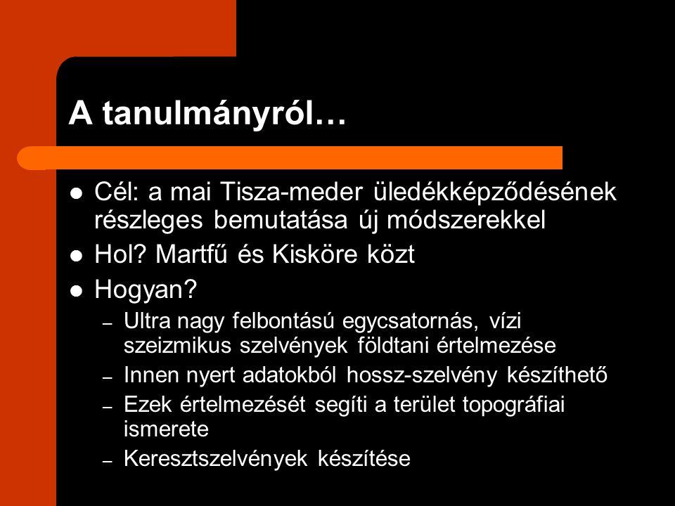 A tanulmányról… Cél: a mai Tisza-meder üledékképződésének részleges bemutatása új módszerekkel Hol? Martfű és Kisköre közt Hogyan? – Ultra nagy felbon