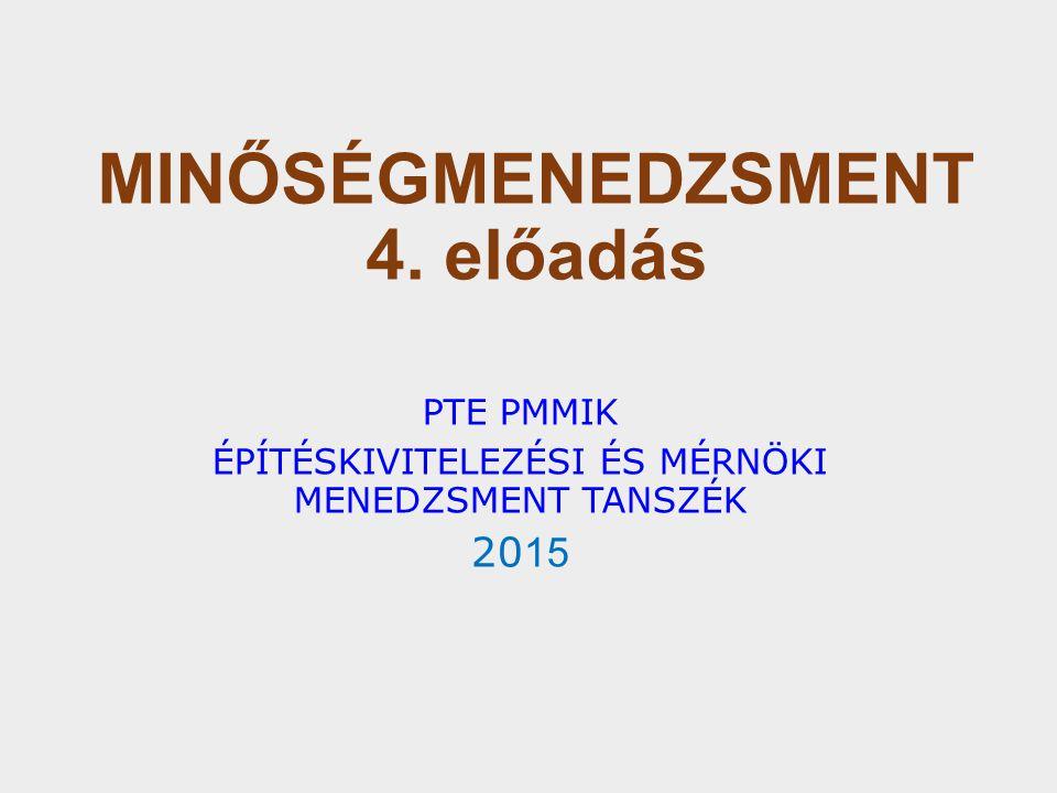 MINŐSÉGMENEDZSMENT 4. előadás PTE PMMIK ÉPÍTÉSKIVITELEZÉSI ÉS MÉRNÖKI MENEDZSMENT TANSZÉK 20 15