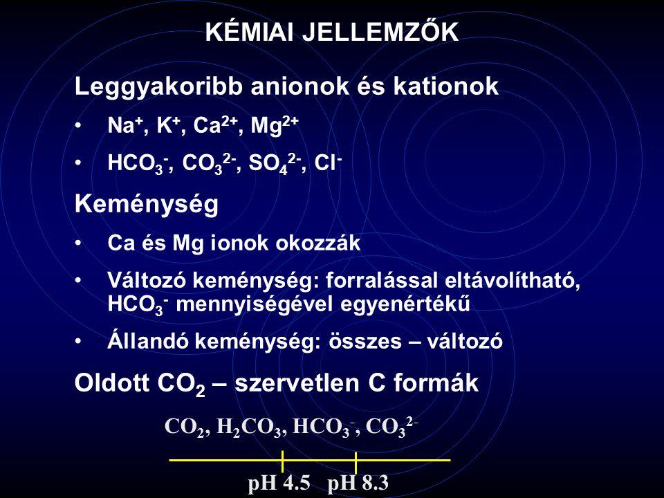 Leggyakoribb anionok és kationok Na +, K +, Ca 2+, Mg 2+ HCO 3 -, CO 3 2-, SO 4 2-, Cl - Keménység Ca és Mg ionok okozzák Változó keménység: forraláss