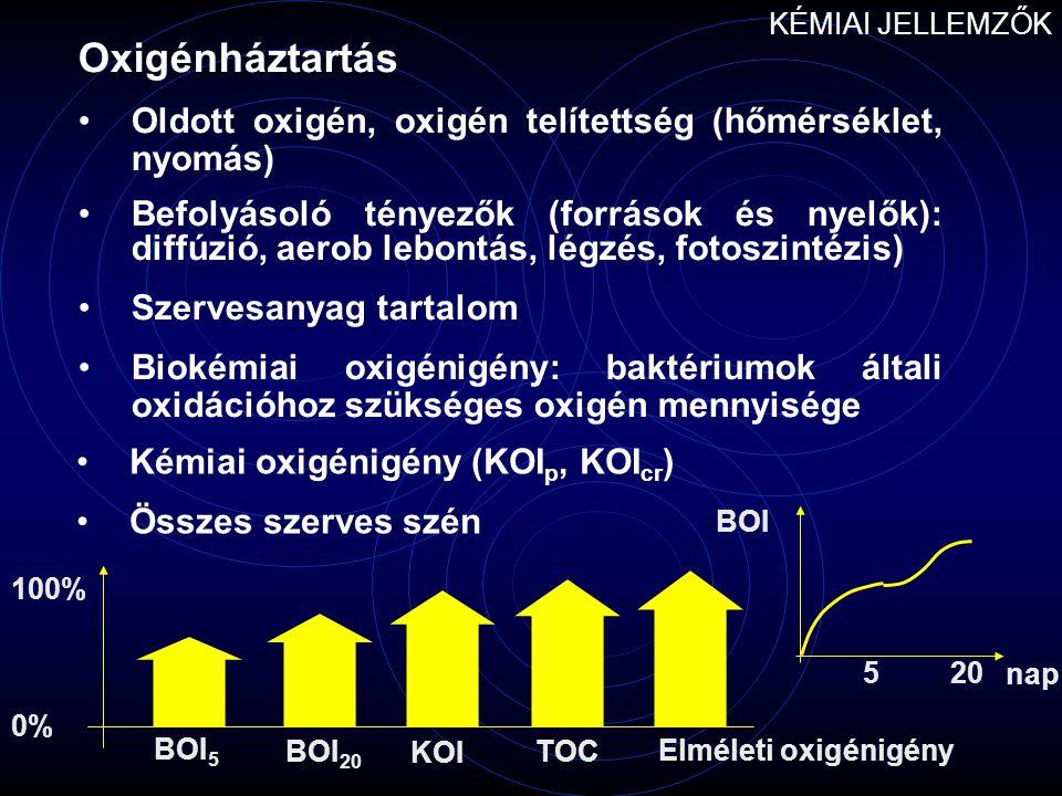 Oxigénháztartás Oldott oxigén, oxigén telítettség (hőmérséklet, nyomás) Befolyásoló tényezők (források és nyelők): diffúzió, aerob lebontás, légzés, f