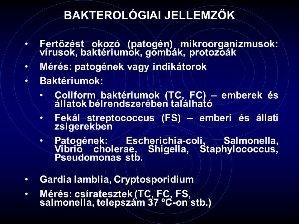 Fertőzést okozó (patogén) mikroorganizmusok: vírusok, baktériumok, gombák, protozoák Mérés: patogének vagy indikátorok Baktériumok: Coliform baktérium
