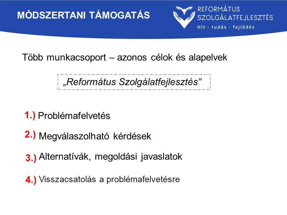 """""""Református Szolgálatfejlesztés MÓDSZERTANI TÁMOGATÁS Több munkacsoport – azonos célok és alapelvek Problémafelvetés Megválaszolható kérdések Alternatívák, megoldási javaslatok Visszacsatolás a problémafelvetésre 1.) 2.) 3.) 4.)"""
