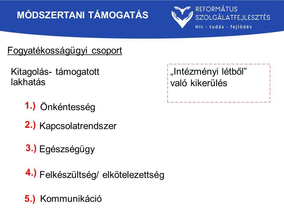 """Fogyatékosságügyi csoport MÓDSZERTANI TÁMOGATÁS Kitagolás- támogatott lakhatás Önkéntesség Kapcsolatrendszer Egészségügy Felkészültség/ elkötelezettség Kommunikáció """"Intézményi létből való kikerülés 1.) 2.) 3.) 4.) 5.)"""