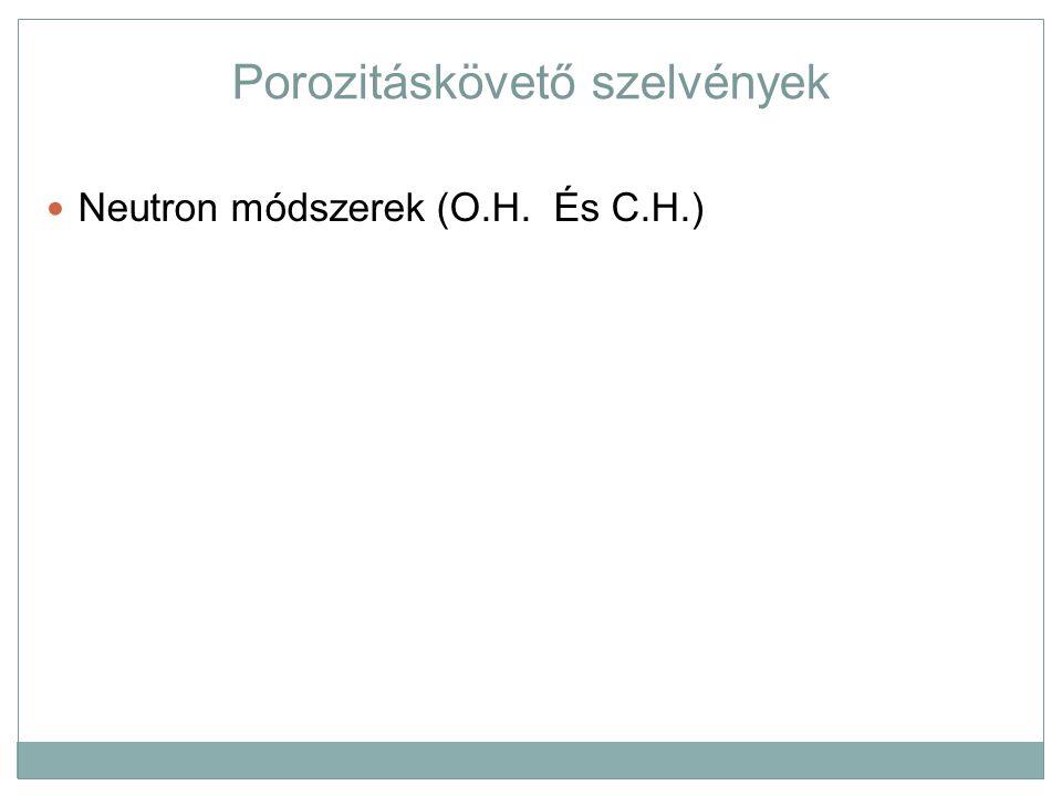 Porozitáskövető szelvények Neutron módszerek (O.H. És C.H.)