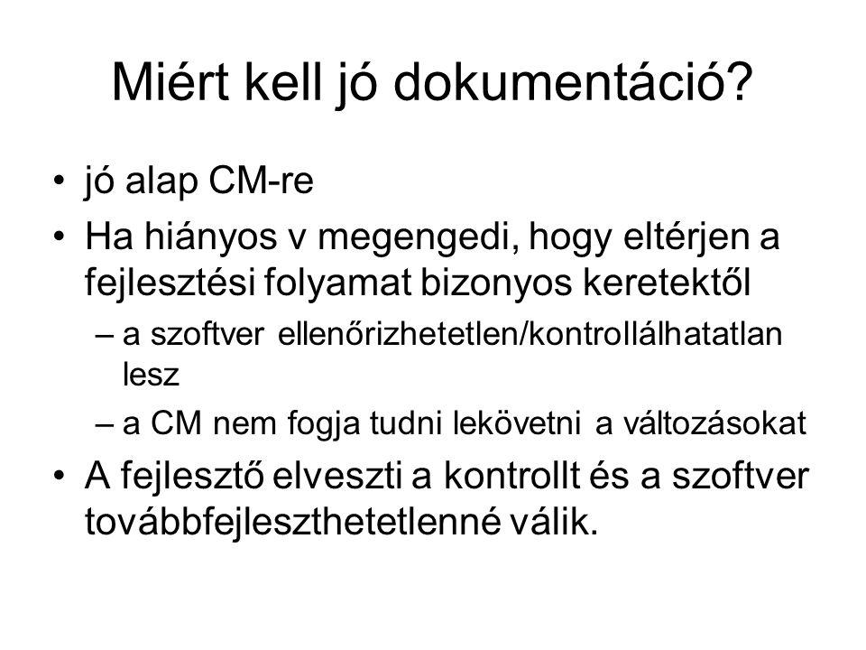 Miért kell jó dokumentáció? jó alap CM-re Ha hiányos v megengedi, hogy eltérjen a fejlesztési folyamat bizonyos keretektől –a szoftver ellenőrizhetetl
