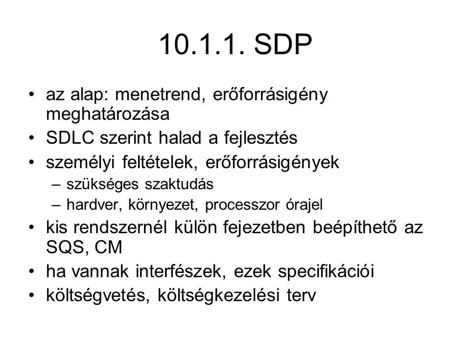 10.1.1. SDP az alap: menetrend, erőforrásigény meghatározása SDLC szerint halad a fejlesztés személyi feltételek, erőforrásigények –szükséges szaktudá