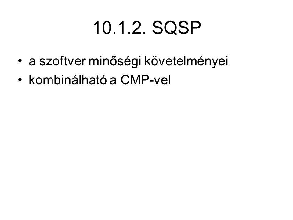 10.1.2. SQSP a szoftver minőségi követelményei kombinálható a CMP-vel