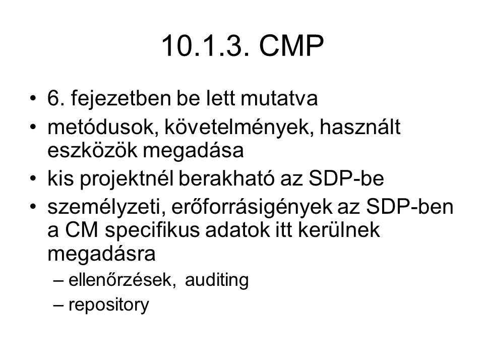 10.1.3. CMP 6. fejezetben be lett mutatva metódusok, követelmények, használt eszközök megadása kis projektnél berakható az SDP-be személyzeti, erőforr