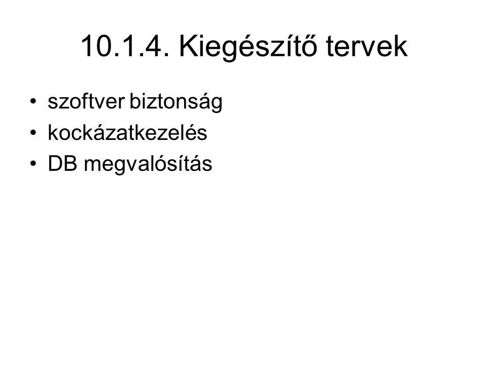 10.1.4. Kiegészítő tervek szoftver biztonság kockázatkezelés DB megvalósítás