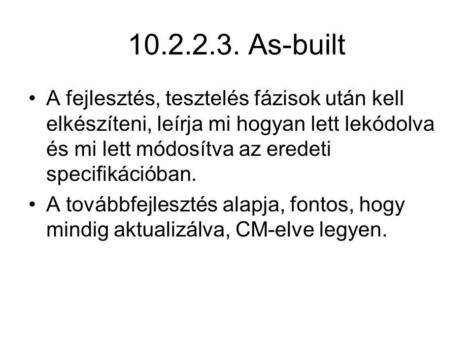 10.2.2.3. As-built A fejlesztés, tesztelés fázisok után kell elkészíteni, leírja mi hogyan lett lekódolva és mi lett módosítva az eredeti specifikáció