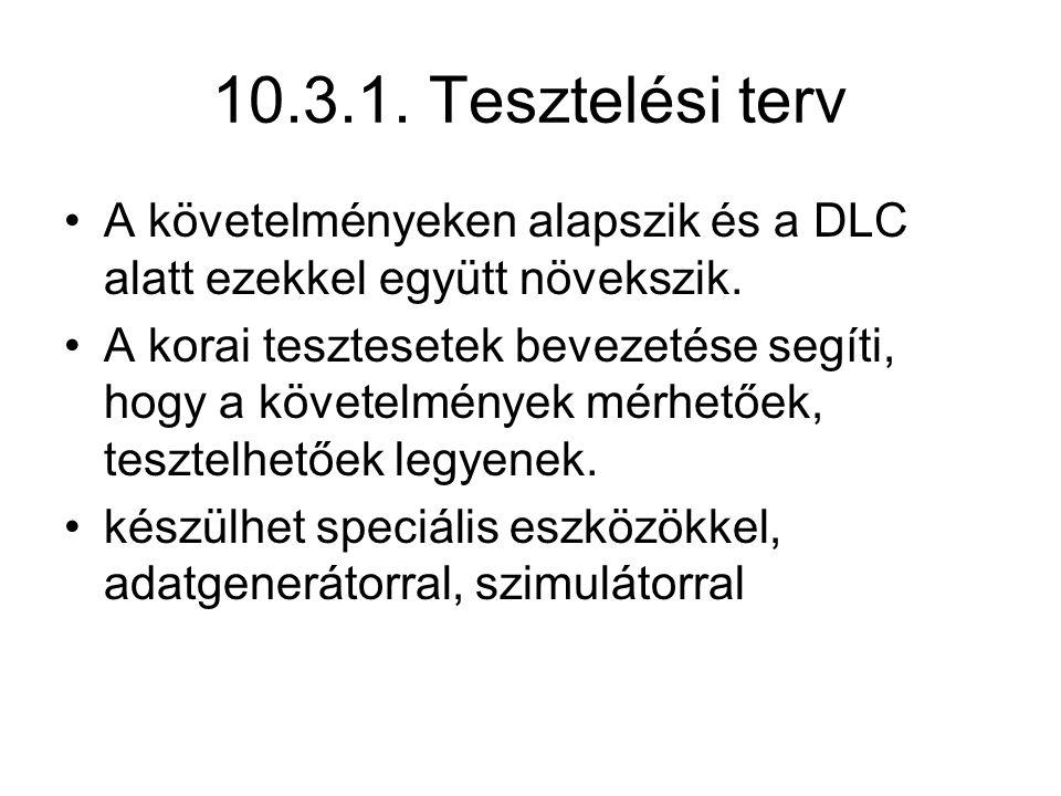 10.3.1. Tesztelési terv A követelményeken alapszik és a DLC alatt ezekkel együtt növekszik. A korai tesztesetek bevezetése segíti, hogy a követelménye