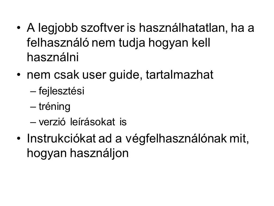 A legjobb szoftver is használhatatlan, ha a felhasználó nem tudja hogyan kell használni nem csak user guide, tartalmazhat –fejlesztési –tréning –verzi