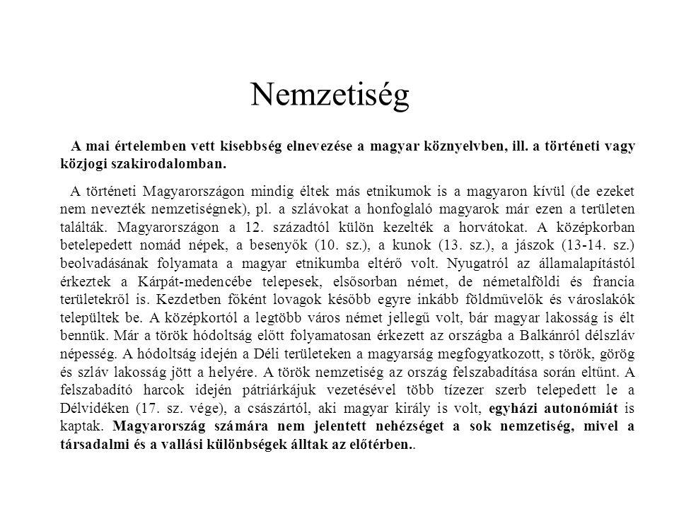 Nemzetiség A mai értelemben vett kisebbség elnevezése a magyar köznyelvben, ill. a történeti vagy közjogi szakirodalomban. A történeti Magyarországon