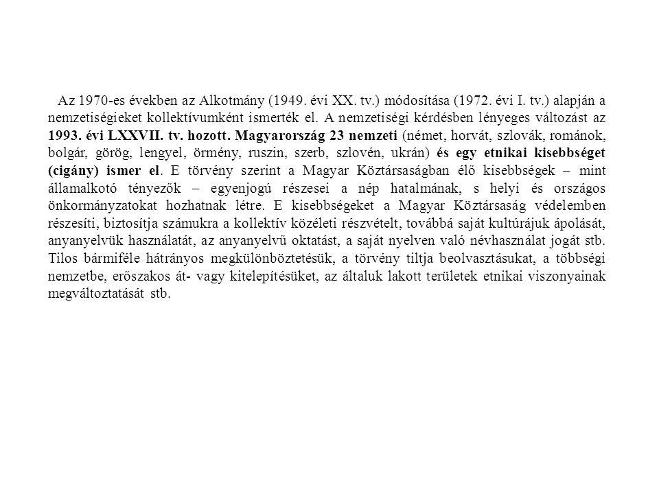 Az 1970-es években az Alkotmány (1949. évi XX. tv.) módosítása (1972. évi I. tv.) alapján a nemzetiségieket kollektívumként ismerték el. A nemzetiségi
