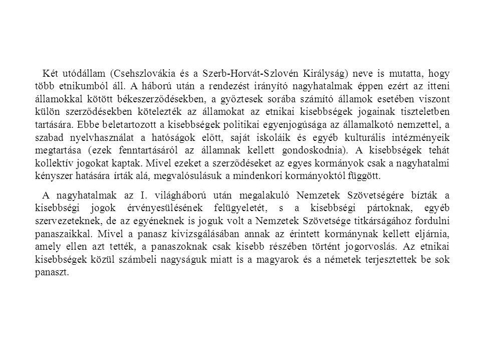 Két utódállam (Csehszlovákia és a Szerb-Horvát-Szlovén Királyság) neve is mutatta, hogy több etnikumból áll. A háború után a rendezést irányító nagyha