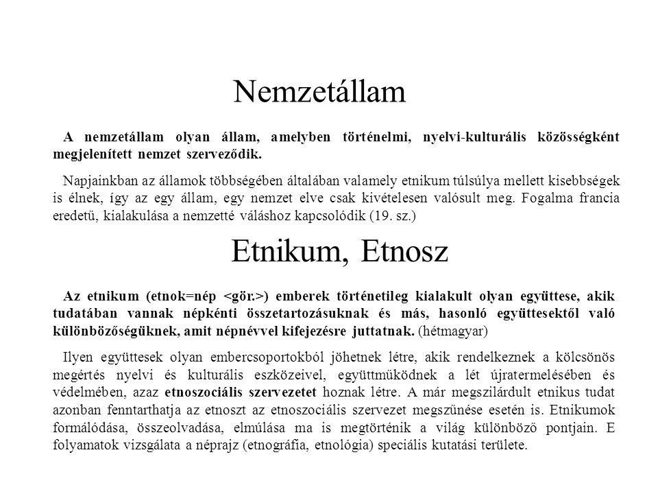 Nemzetállam Etnikum, Etnosz A nemzetállam olyan állam, amelyben történelmi, nyelvi-kulturális közösségként megjelenített nemzet szerveződik. Napjainkb