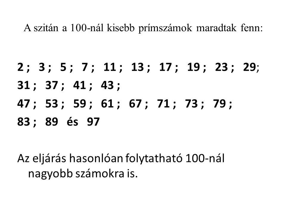 A szitán a 100-nál kisebb prímszámok maradtak fenn: 2 ; 3 ; 5 ; 7 ; 11 ; 13 ; 17 ; 19 ; 23 ; 29; 31 ; 37 ; 41 ; 43 ; 47 ; 53 ; 59 ; 61 ; 67 ; 71 ; 73