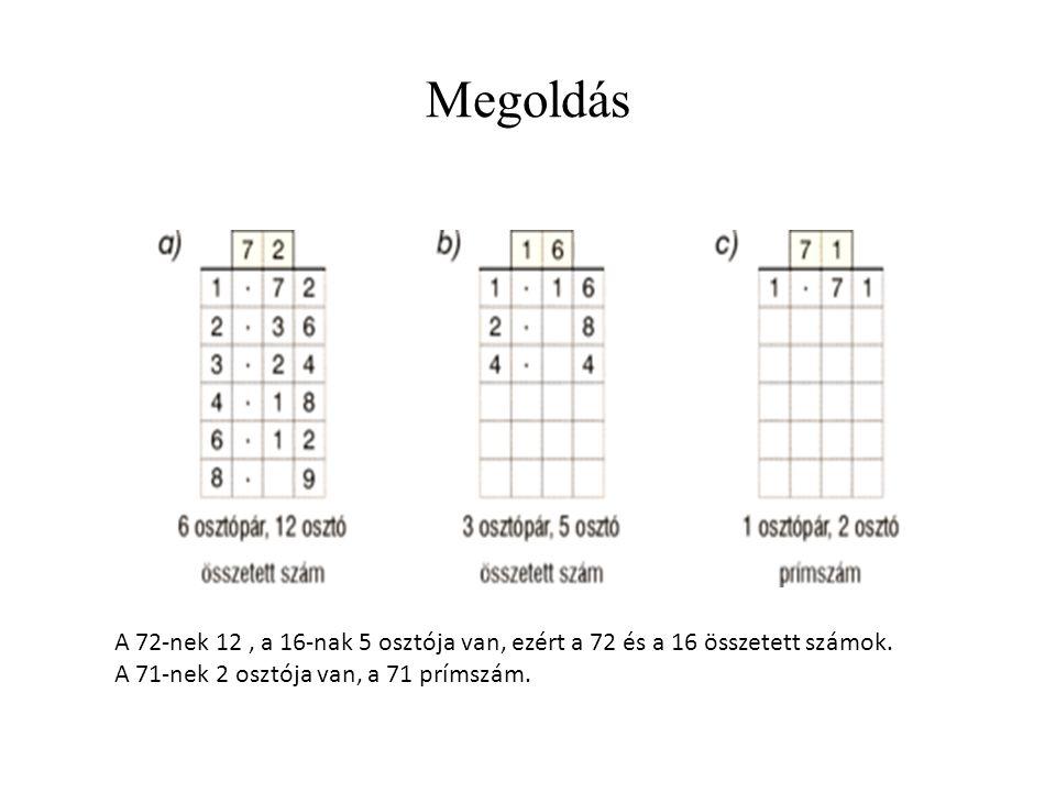 Megoldás A 72-nek 12, a 16-nak 5 osztója van, ezért a 72 és a 16 összetett számok. A 71-nek 2 osztója van, a 71 prímszám.
