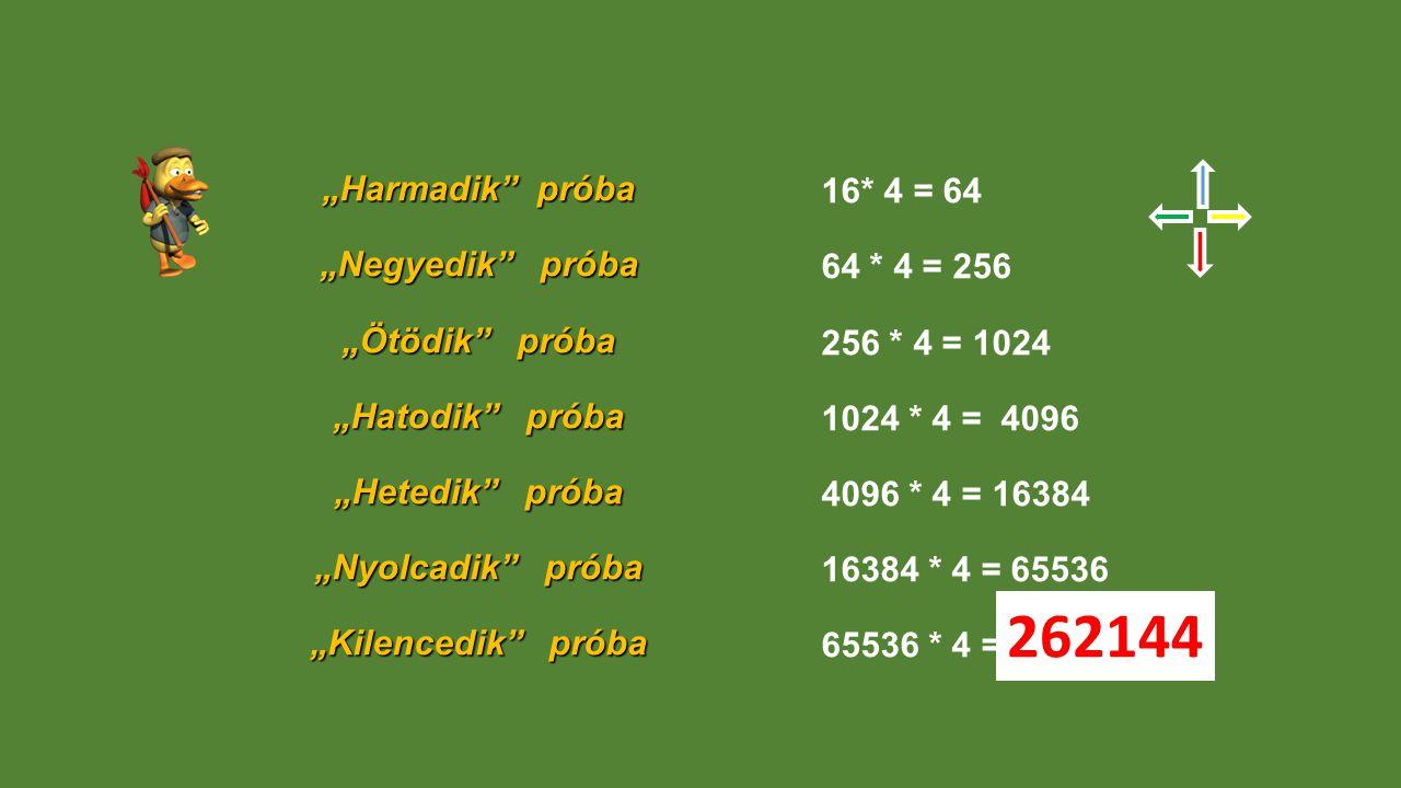 """""""Harmadik próba """"Negyedik próba """"Ötödik próba """"Hatodik próba """"Hetedik próba """"Nyolcadik próba """"Kilencedik próba 16* 4 = 64 64 * 4 = 256 256 * 4 = 1024 1024 * 4 = 4096 4096 * 4 = 16384 16384 * 4 = 65536 65536 * 4 = 262144"""