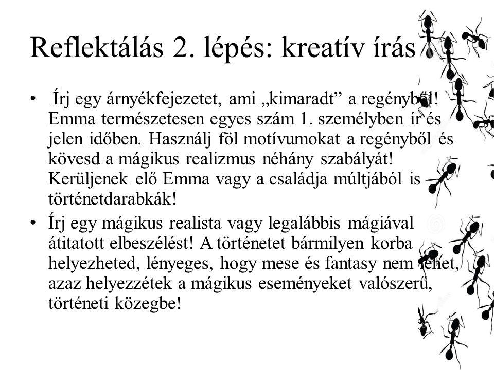 """Reflektálás 2.lépés: kreatív írás Írj egy árnyékfejezetet, ami """"kimaradt a regényből."""