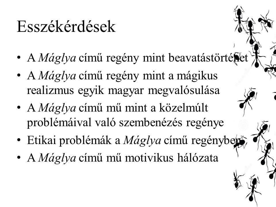 Esszékérdések A Máglya című regény mint beavatástörténet A Máglya című regény mint a mágikus realizmus egyik magyar megvalósulása A Máglya című mű mint a közelmúlt problémáival való szembenézés regénye Etikai problémák a Máglya című regényben A Máglya című mű motivikus hálózata